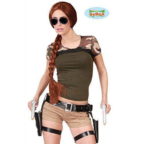 Ceinture Lara Croft Double Holster avec Pistolets: 2 pistolets en plastique avec étuis et ceintures réglables. Longueur ceinture : 40 à 114…