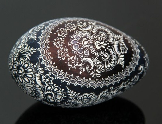 Opole (South-East of Poland) hand decorated egg based on goose eggshell