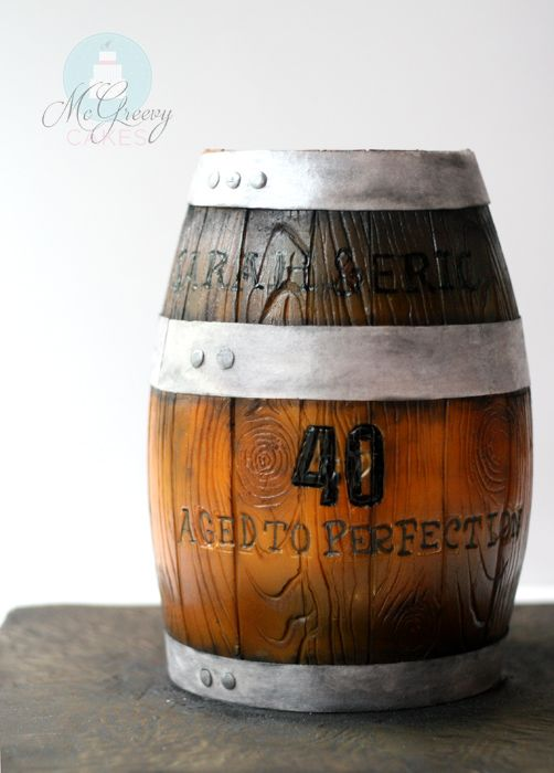 40th Birthday wooden barrel cake! Click through to see the tutorial!