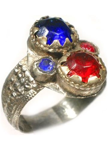 18thC-Crimean-Tatars-Silver-Ring-Ruby-Red-Sapphire-Blue-Glass-034-Gemstones-034-Sz-11