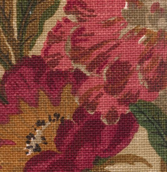 Giant Peony Fabric Large Weave Heavy Weight Linen Style With Floral Print In Terracotta