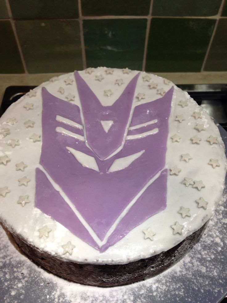 Decepticon chocolate brownie birthday cake Jules 8 yrs old