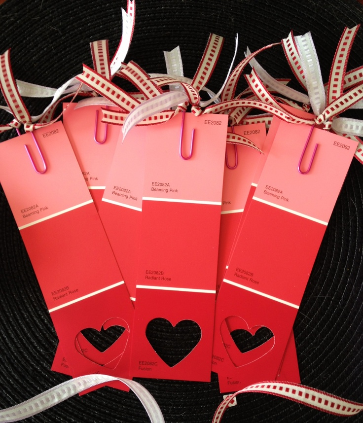 Paint chip valentine bookmarks for the Arts Center kids <3