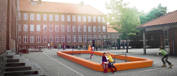 LOOP PLAYFIELD   a package solution, created by LOOP LINE + LOOP CORNER modules. The LOOP Family are playful and informal urban elements by out-sider, Denmark. Play with the endless possibilities of combining the curves, straight bits and colors! Here LOOP is used to make a ball play space. The LOOP Family is available in 12 colors. Made in moulded polyethylene, sturdy, UV-resistant, and suitable for complete recycling.