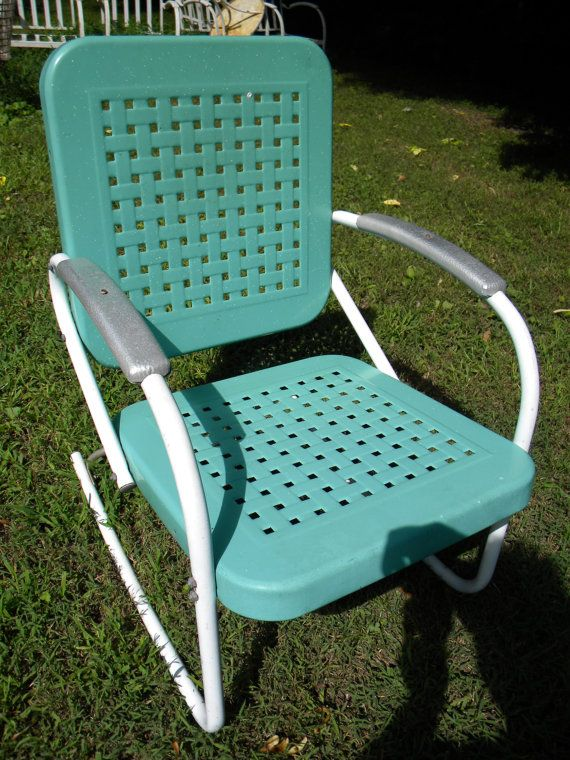 Retro Metal Yard Chairs High For Babies Reserve Sandy Vtg 50s 60s Outdoor Lawn Patio Porch Rocking Chair Pinterest Vintage And