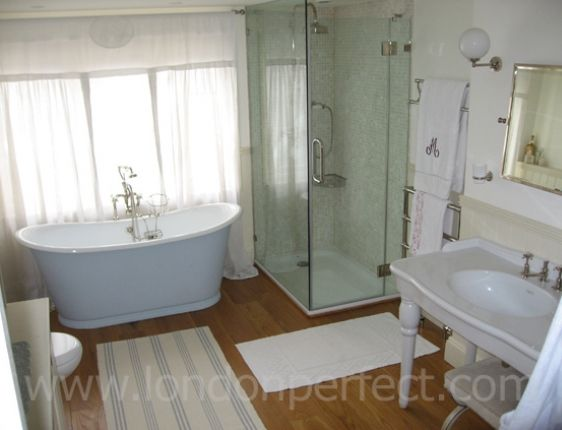 Make Photo Gallery Master bathroom with Victorian style bathtub and walk in shower