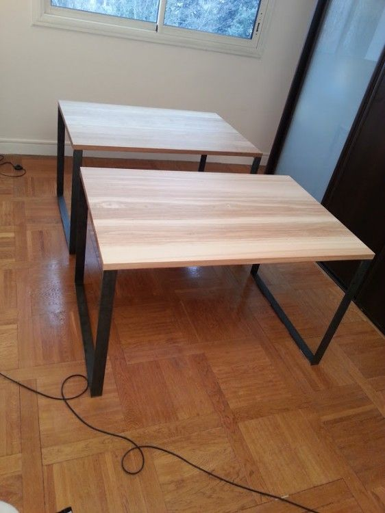 pied de table en acier diy table pinterest tables et montages. Black Bedroom Furniture Sets. Home Design Ideas