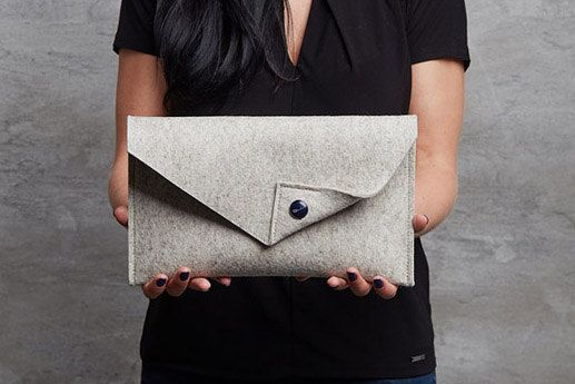 Beige Merino wool felt clutch bag beige large by FeltinLoveBags