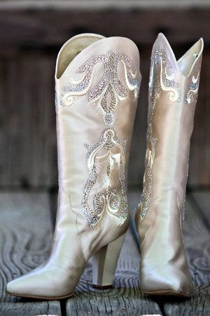 Casadei Custom Satin Cowboy Boots made for Miranda Lambert to wear at her wedding to Blake Shelton
