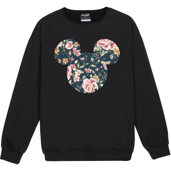 MICKEY FLORAL SWEATER ($22) ❤ liked on Polyvore featuring tops, sweaters, floral jumper, boho tops, gothic sweaters, bohemian sweaters and floral print sweater