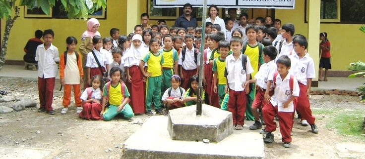 With school kids after the Construction of School for Earthquake victims in Padang Indonesia