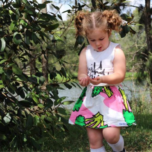 Girls eat your greens skirt from Kablooie Store. Fun quirky, colourful clothing for kids!