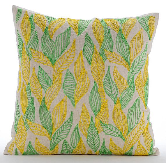 Leaves Change - 16x16 Natural Linen Throw Pillow embroidered with green and yellow cords.