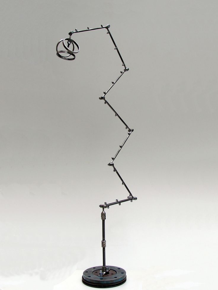 Abstract metal sculpture and floor lamp TRAJECTORY 60X60X180cm