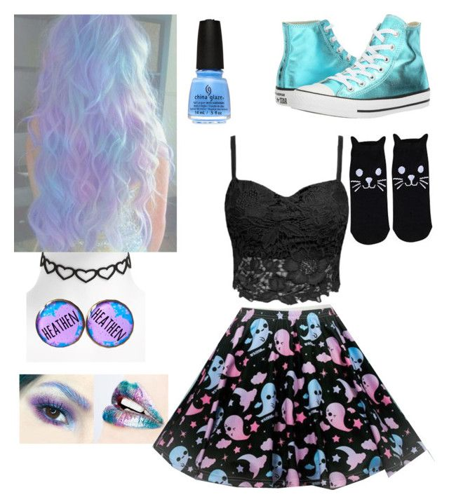 """Untitled #36"" by phoenix4242564 ❤ liked on Polyvore featuring Hot Topic, Converse and Topshop"