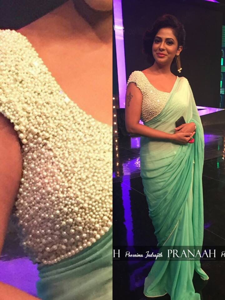 Pranaah statement pearl sari or saree blouse. Indian fashion.