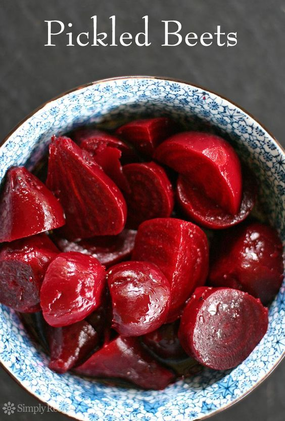 Pickled Beets ~ What a midwestern classic, pickled beets!  Here's our favorite pickled beets recipe, easy to make with beets, cider vinegar, sugar, and olive oil. ~ SimplyRecipes.com