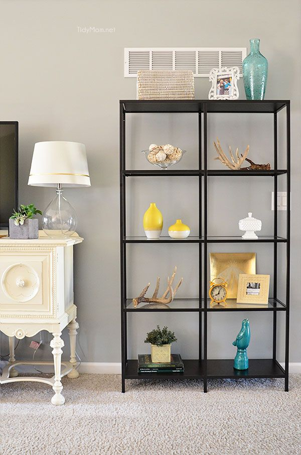 beautiful family room makeover progress with the addition of ikea vittsj shelving