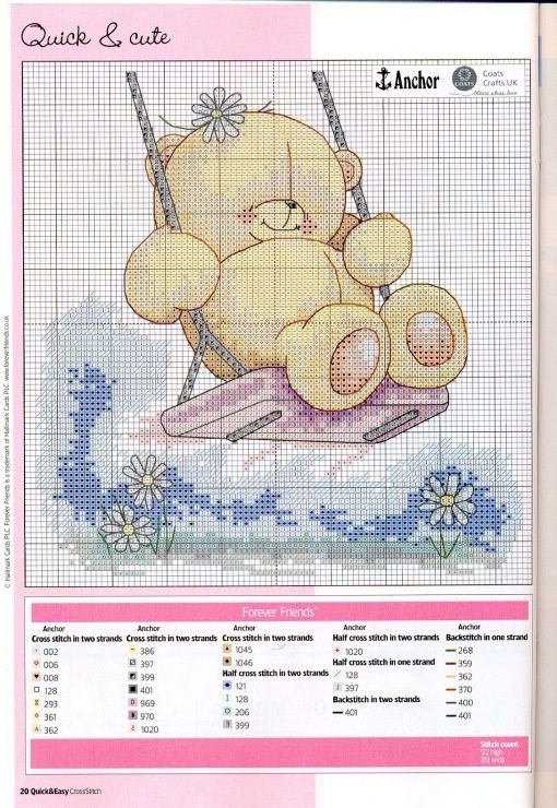 Punto croce Forever Friends altalena, Cross stitch Forever Friends seesaw