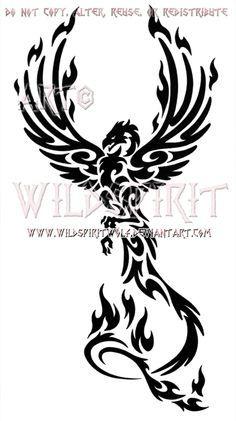 Majestic Tribal Phoenix Design by WildSpiritWolf.deviantart.com on @deviantART