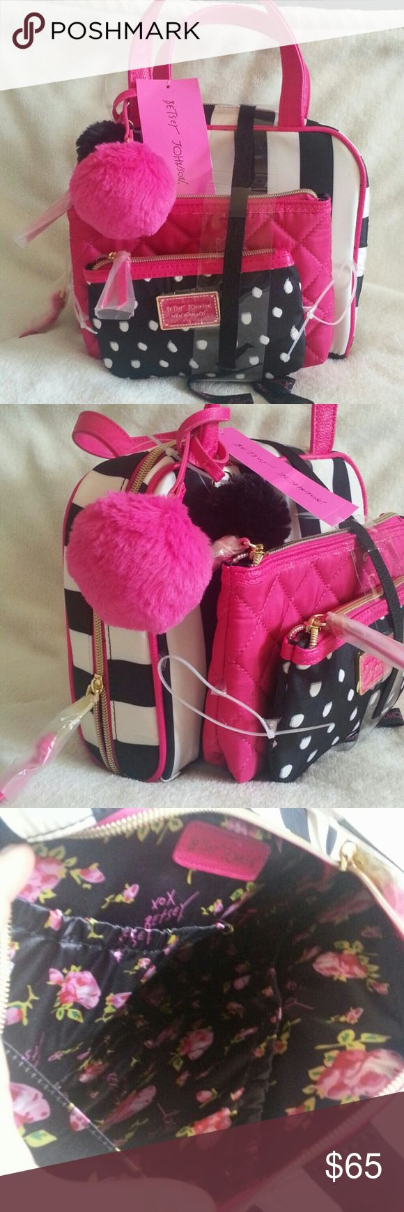 FINAL SALENO OFFER BetseyJohnson CosmeticBag Set 3 Piece Cosmetic Bag Set PRICE IS FIRM Betsey Johnson Bags Cosmetic Bags & Cases
