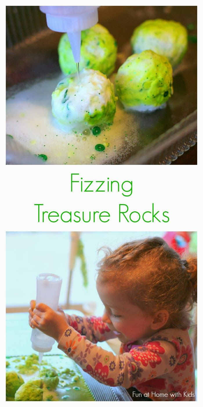 St. Patrick's Day Fizzing Treasure Rocks from Fun at Home with Kids