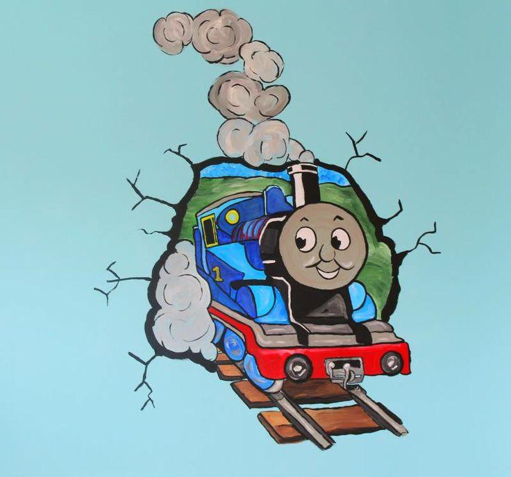 Thomas de trein muurschildering