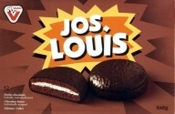 Vachon Jos Louis are two thin chocolate cakes filled with sweet white filling and covered in chocolate.
