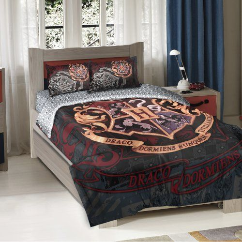Harry Potter Hogwarts Crest Full/Twin Comforter -  72-Inch-by-86-Inch - It also comes with two pillow shams allowing you to outfit your bed to make it complete.  Fall asleep every night and feel like you are a student at Hogwarts  - http://geekarmory.com/harry-potter-hogwarts-crest-fulltwin-comforter/