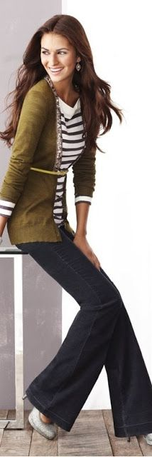 Outfit Posts: Insp: Anne Taylor/Loft  .. I wouldn't do the belt but like the olive sweater with navy stripe tee.