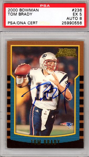 Tom Brady Autographed 2000 Bowman Rookie Card #236 New England Patriots Auto Grade 8 PSA/DNA #25990556