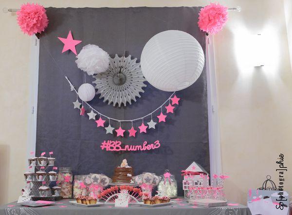 Deco bapteme fille gris rose for Decoration bapteme fille