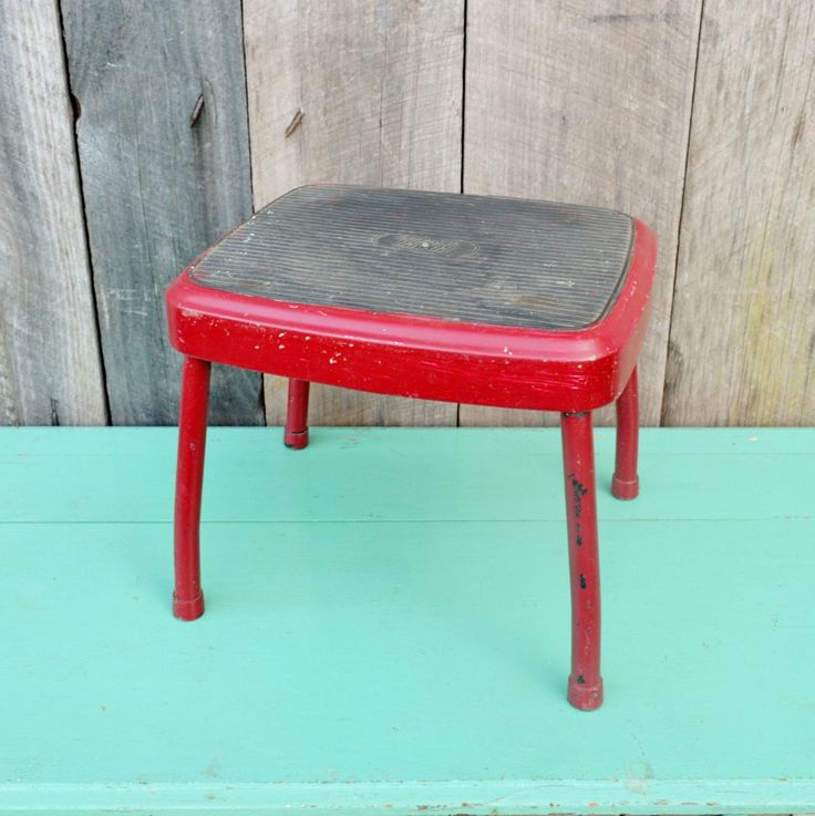 Vintage Red Cosco Stylaire Step Stool Foot Stool Kitchen Bathroom Metal Chippy Paint Burgundy Childu0027s Stool & The 25+ best Metal step stool ideas on Pinterest | Vintage metal ... islam-shia.org