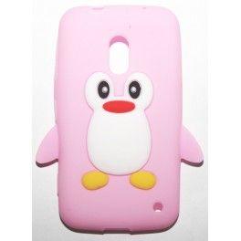 Lumia 620 vaaleanpunainen pingviini silikonisuojus.