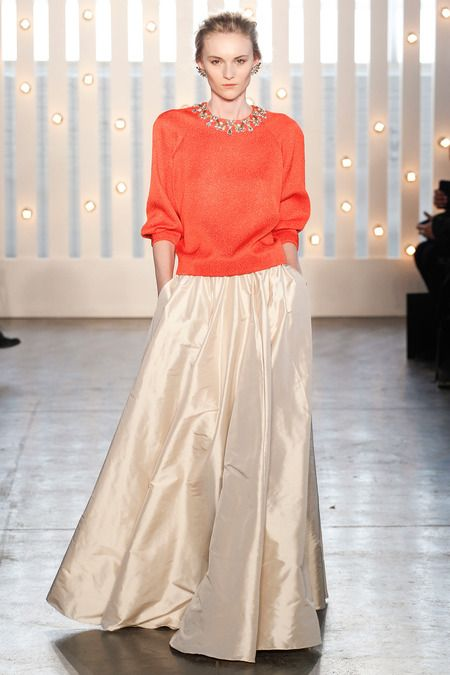 Coral Sweater + Cream Evening Skirt - Jenny Packham | Fall 2014 Ready-to-Wear Collection | Style.com