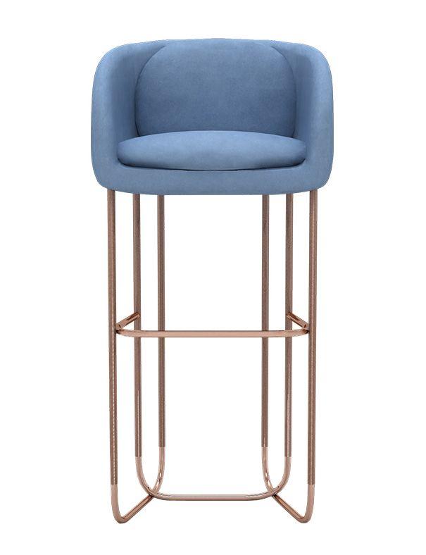 Utah Bar Stool - Mid-Century / Modern Metal, Upholstery / Fabric Stool by Divya & Victoria Group