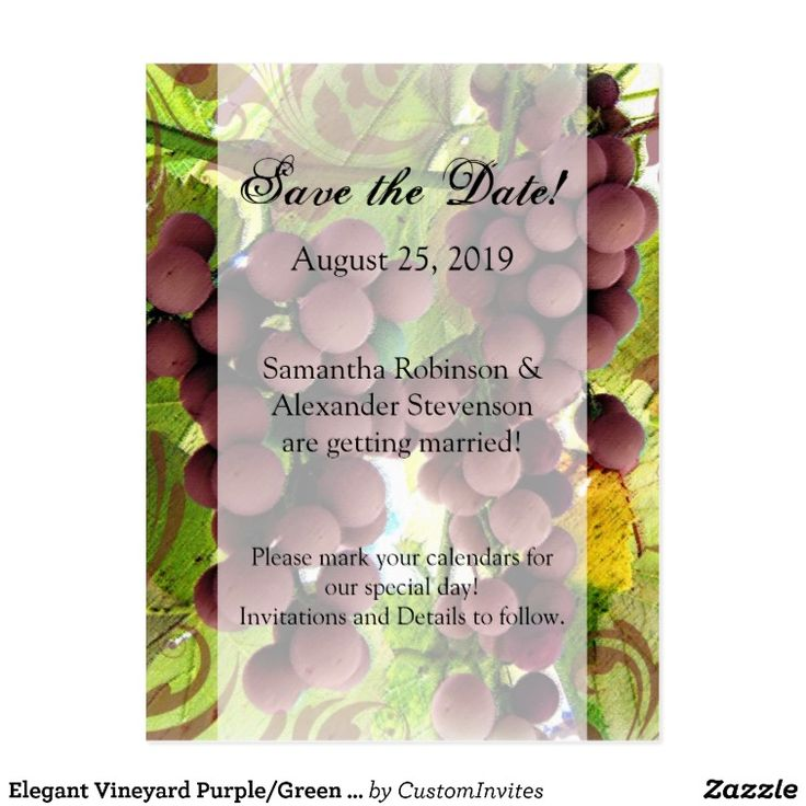 Elegant Vineyard Purple/Green Grapes Save the Date Postcard