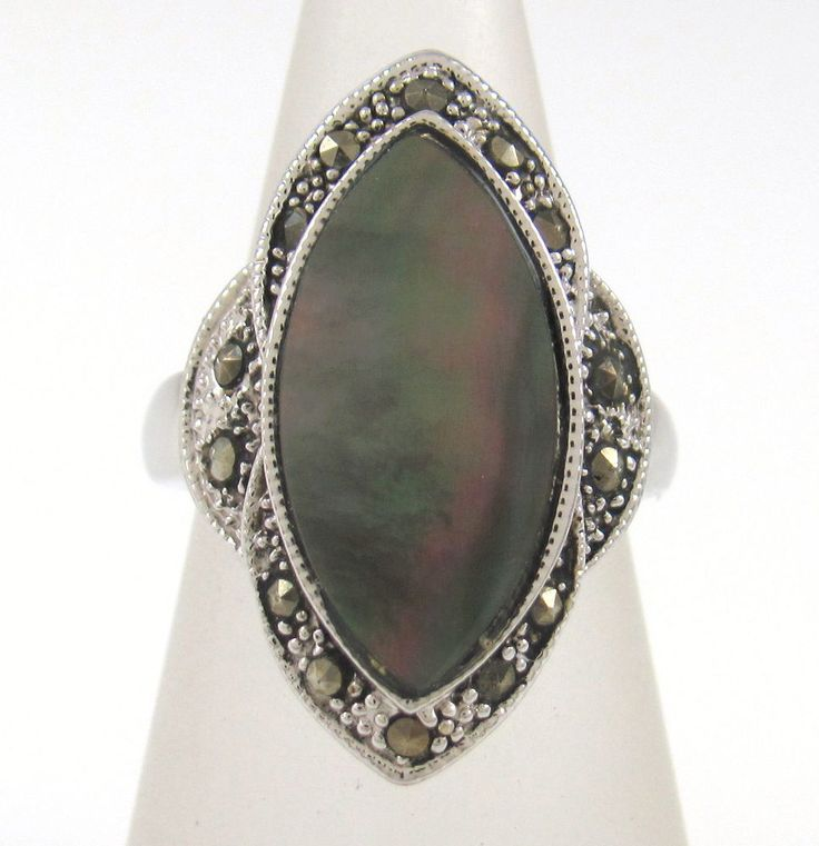 Vintage Solid 925 Sterling Silver Grey Mother of Pearl Marcasite Ring Sz 6.75 J