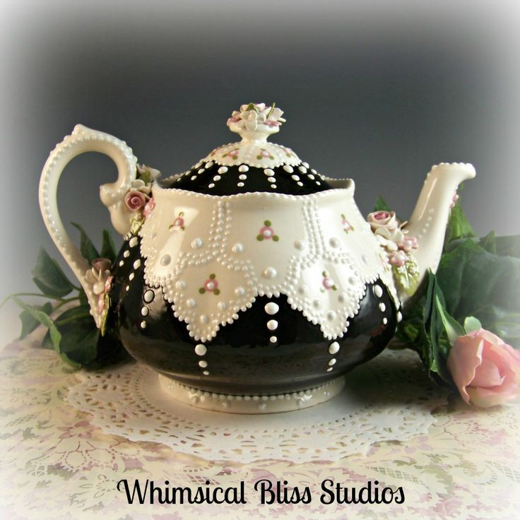 Whimsical Bliss Studios - Vintage Lace Teapot with pink roses