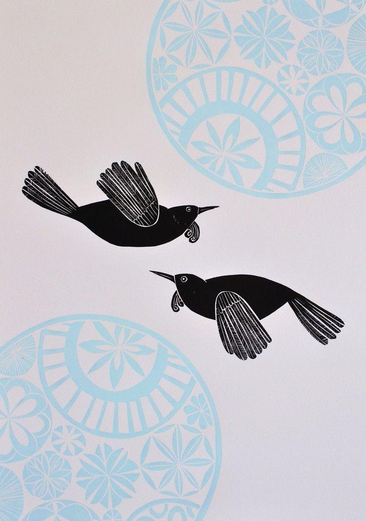 Blue Sky Tuis by Annie Smits Sandano | Kina NZ Design + Artspace