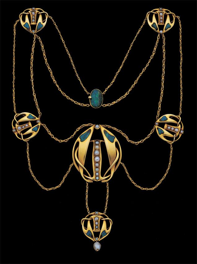 Rosamaria G Frangini | High Antique Jewellery  | VintageJewellery | ARCHIBALD KNOX Art Nouveau Necklace Gold Enamel Pearl British, c.1900