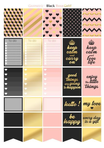 Geomectric style black rose gold | Printable stickers | 3 pdf | Instant download | Planner, Happy planner