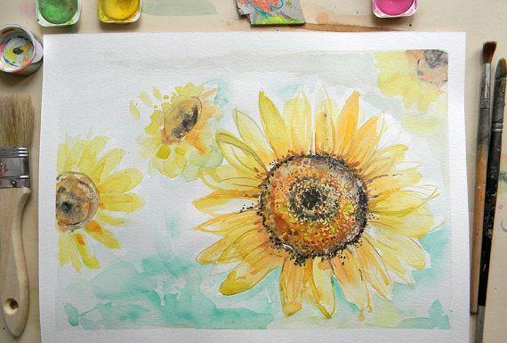 Sunflower watercolor painting Original yellow by AquarelleDream