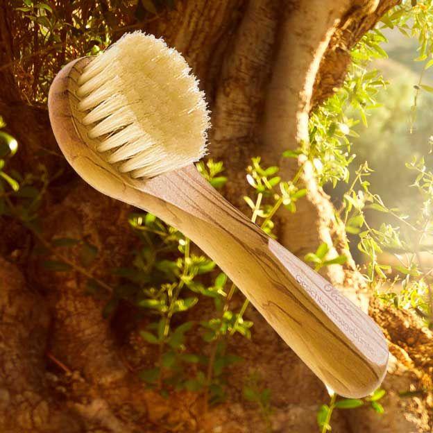 Mooi vervaardigde gezichtsborstel in olijfhout en zachte haren van het wilde zwijn. Met deze borstel kun je je gezicht en hals zowel droog als nat masseren. De massage bevordert de bloedsomloop, voert afvalstoffen af en verwijdert op milde wijze de dode huidcellen. Je huid ziet er na gebruik zacht en gezond uit. Via brievenbusdoosje (lager verzendtarief € 3,95).