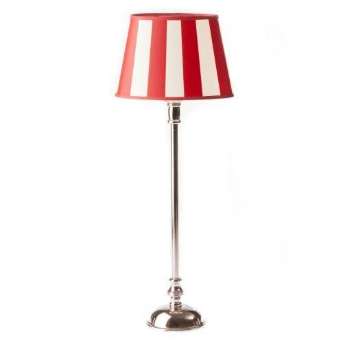 Dekoria Lampa CAMILA wys. 56 cmKlasyczna lampa, podstawa metalowa niklowana, klosz owalny, z tkaniny w czerwono-kremowe pasy. Wys. klosza 14 cm, owal dolny 20 cm, owal górny 14 cm.