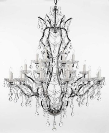 Versailles 25-Light Black Baroque Iron Chandelier