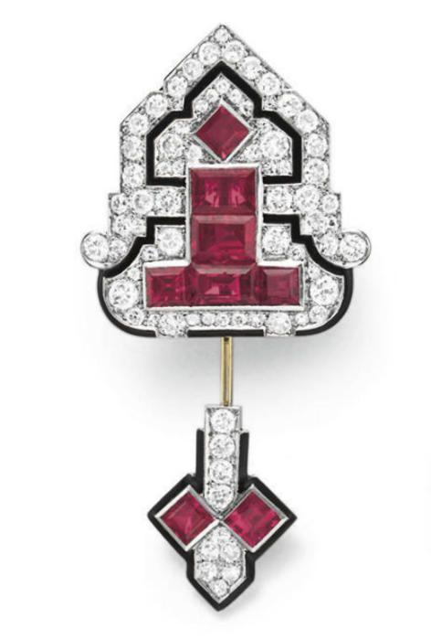 Cartier jabot pin ca. 1925 via Christie's