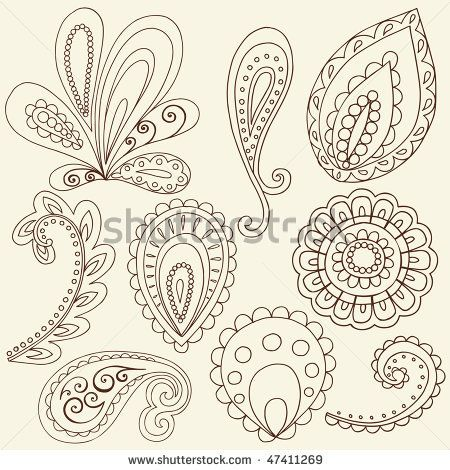 hand drawn abstract henna paisley vector illustration doodle design elements by blue67design. Black Bedroom Furniture Sets. Home Design Ideas