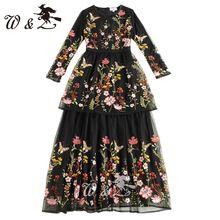 Высокое качество 2017 весна новая взлетно-посадочная полоса dress женская с длинным рукавом винтаж черный сетка вышивка длинные dress XY358(China (Mainland))