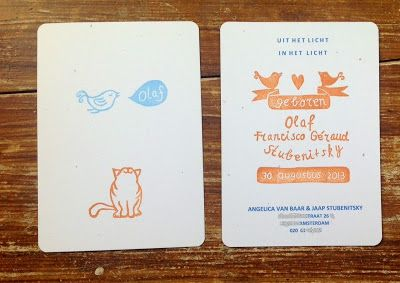 OLAF Handstamped at the front. Printed and one stamp at the back. Design and handcarved stamps by SalutStefanie
